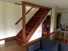 New stairway from reclaimed heartwood pine flooring.